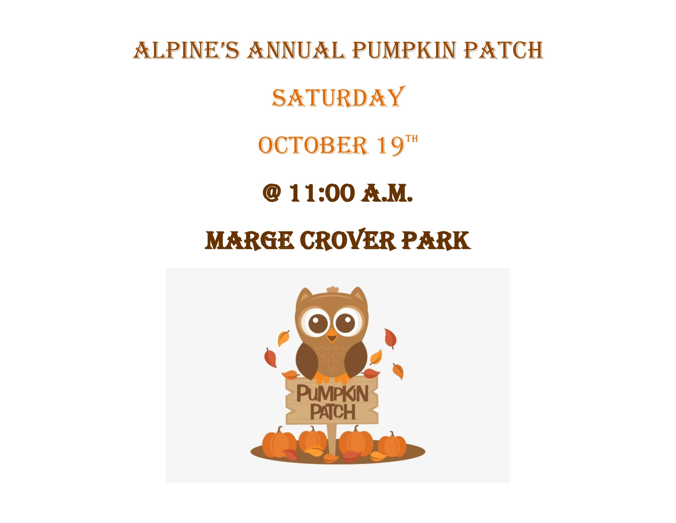 Alpine's Pumpkin Patch @ Alpine Civic Center
